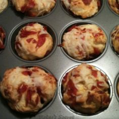 Pizza balls! Fast and easy! Canned biscuits, mozzarella cheese, garlic, and diced pepperoni all rolled into a ball and put in a muffin pan! Bake for 15 minutes! Add whatever other ingredients you'd like! Dip in sauce!