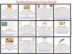 Reading Response choice board for both fiction and non-fiction. Technology integration :)