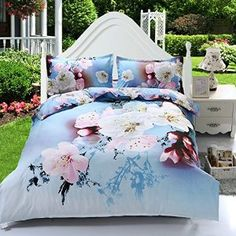 Bedding Set - Best Popular Flower Printed Duvet Cover, Pillow Case And Flat Sheet - Super Soft, Comfortable and Machine Washable(comforter Not Included)