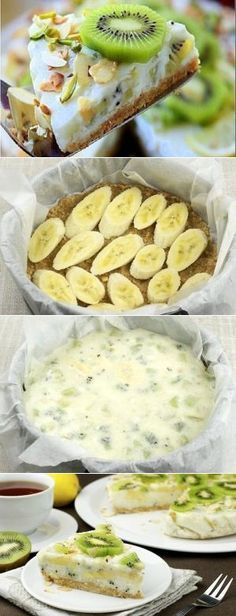 How to cook low-calorie yogurt cake with kiwi and banana - recipe, ingredients and photos # delicious Good Food, Yummy Food, Cooking Recipes, Healthy Recipes, Russian Recipes, Banana Recipes, Calories, Food Photo, Great Recipes