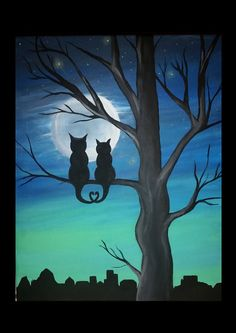 Moon Cat Lovers Silouette Acrylic Painting by BadKittySwag on Etsy