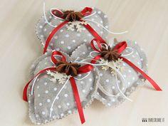 Set 3 pz Cuori di Natale in pannolencio - beige a pois : Accessori casa di cristiana-farecreare