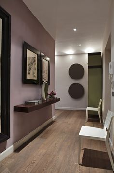 Scheme 6 - Left hand wall in Farrow & Ball Cinder Rose with far wall in Dimity and a cupboard in Churlish Green. Image from Decorating with Colour.