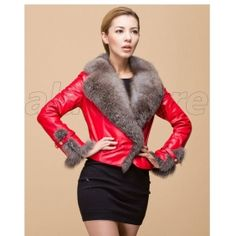 2013 Latest Style Sheepskin Fur Overcoat For Women, Short Length Style Real Leather Coat With Fox Fur Collar On Sale