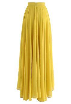 Timeless Favorite Chiffon Maxi Skirt in Mustard - BOTTOMS - Retro, Indie and Unique Fashion Chiffon Maxi, Pleated Maxi, Chiffon Fabric, Floral Maxi Dress, Midi Skirt, Printed Maxi Skirts, Unique Fashion, Chiffon Material, Retro Dress