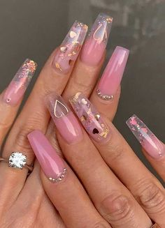 Stiletto nails,glitter, heart nails, Heart nails P Stiletto Nails Glitter, White Acrylic Nails, Best Acrylic Nails, Silver Nails, Purple Nails, Summer Acrylic Nails, Pink Clear Nails, White Nail, Manicure