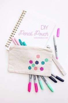 DIY School Supplies You Need For Back To School - DIY Pencil Pouch - Cuter, Cool and Easy Projects for Teens, Tweens and Kids to Make for Middle School and High School. Fun Ideas for Backpacks, Pencils, Notebooks, Organizers, Binders http://diyprojectsforteens.com/diy-school-supplies