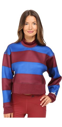 Make your move.  Sport lovely looks and enjoy life in the #adidasbyStellaMcCartney #Run #Striped #Sweatshirt.    #tops #athleisure #athleticwear #athletic #exercise #apparel #clothing