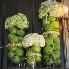 green apples and Hydrangea vase decorations - table styling - autumn - rustic - country - fruit - DIY Dinner Party Decorations, Apple Decorations, Spring Wedding Decorations, Vase Decorations, Wedding Ideas, High Holidays, Holidays And Events, Rosh Hashana Decorations, Comida Kosher