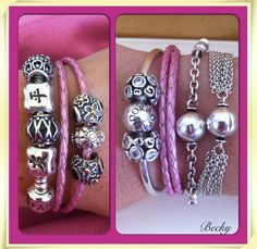 Five different Pandora bracelets - snake chain, plaited leather, bangle, 5 clip and multichain. Just need macrame, fabric and smooth leather.