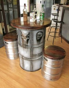 30 Creative Ways to Turn Metal Barrels Into Furniture Creative ways you can use metal barrels and turn them into furniture. Thirty metal barrel design ideas for you to copy now. Oil Barrel, Metal Barrel, Living Room Furniture, Home Furniture, Furniture Design, Furniture Ideas, Modern Furniture, Outdoor Furniture, Furniture Shopping
