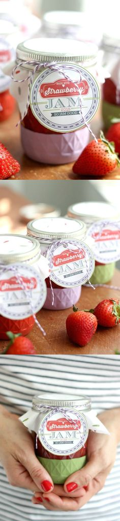 I love to gift my strawberry freezer jam recipe because I make so much and because I think anything in a mason jar is instantly adorable and gift-worthy! Learn how to make it plus get free printable labels!