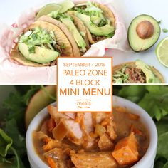 Paleo Zone 4 Block Mini Menu | Once a Month Meals | Freezer Cooking | Paleo Recipes |