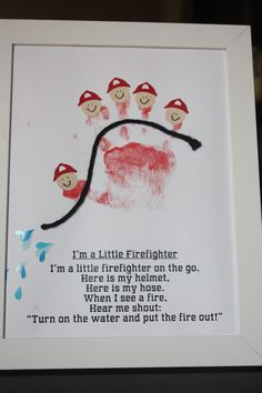 "Cute and Fun Handprint and Footprint Crafts for Kids fire truck party handprint craft - this is so cute! I am using it for my Colors themed week ""RED"". rhfire truck party handprint craft - this is so cute! I am using it for my Colors themed week ""RED"". Toddler Art, Toddler Crafts, Baby Crafts, Crafts For Kids, Fun Crafts, Fire Safety Crafts, Fire Safety Week, Preschool Fire Safety, Community Helpers Preschool"