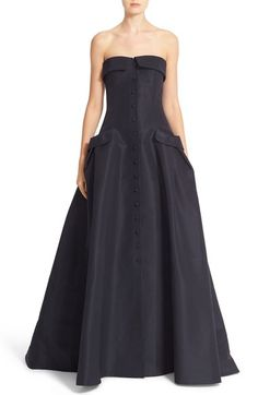 Carolina Herrera Pocket Detail Strapless Silk Faille Gown available at #Nordstrom