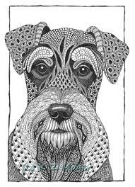 Miniature Schnauzer by Kristin Moger Ink Pen Drawings, Zentangle Drawings, Doodles Zentangles, Zentangle Patterns, Animal Drawings, Dog Coloring Page, Animal Coloring Pages, Adult Coloring, Coloring Books