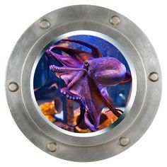 Octopus Porthole Wall Sticker , Wall decal, removable wall decal, wall art (PH-0036) Just peel & Stick!  Quickly Transform Any Room Into an Underwater Submarine with this Life Like Porthole with u