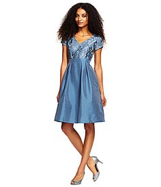 Adrianna Papell VNeck Lace Bodice Fit and Flare Dress #Dillards