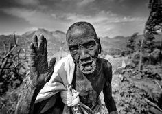 Turgit village old Surma woman - Ethiopia