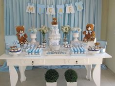 Teddy Bear Baby Shower, Baby Shower Niño, Shower Bebe, Boy Baby Shower Themes, Baby Shower Balloons, Bridal Shower, Baby Tea, Baby Shawer, Decoracion Baby Shower Niña