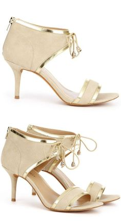Nude & Gold Lace-Up Heels ♥ {Gorjuss Wedding Shoes}