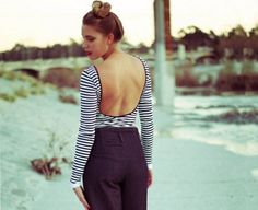 Striped Low Back Top style pic on Free People Backless Top, Stripes Fashion, Fashion Pictures, Playing Dress Up, Unique Fashion, Style Pic, My Style, How To Look Pretty, Autumn Winter Fashion