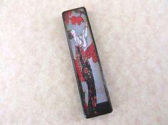 Oriental Lady Flowers Red Grey Black Rectangle by JLynnJewels, $7.50