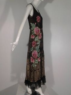 1920s French Evening Gown with Gold Lame and Elaborate Beading.