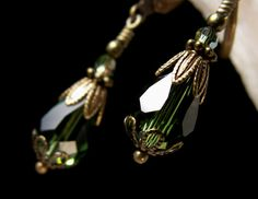 Forest Green Teardrop Crystal Teardrop by TitanicTemptations