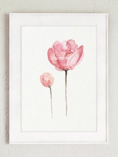 Set of 2 Watercolor Peonies Shabby Chic Home by ColorWatercolor
