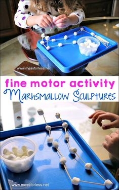 Making these marshmallow sculptures with little ones is a great fine motor activity. This kids activity is easy to set up and clean up!