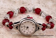 Stretch Beaded Red and Black Watch Band by LindersCreations, $20.00