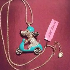 PRICE DROP LADIES😃😃 Betsey Johnson.😀😀 Such a FUN. Necklace. . Precious Doggy on a Scooter...  Just an adorable piece.  So cute... So fun.. Betsey Johnson Jewelry
