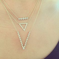 """""""Very excited about my new diamond bezel V necklace! Thursday layers ✨✨✨ Xo, EF…"""
