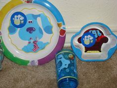 NEW BLUES CLUES DINNERWARE SET 4 PIECES PLATE BOWL AND BAG MELAMINE