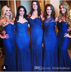New 2015 Royal Blue Bridesmaid Dresses One Shoulder Mermaid Tulle Pleats Fashion Bridal Floor Length Dress Pink Bridesmaid Dress Purple Bridesmaids Dresses From Bridefashion, $84.78| Dhgate.Com