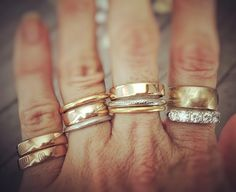 We're heading to a family wedding today but before we left, I decided to stack up some of our lovely wedding bands. Some are truly antiques (late Stacked Wedding Rings, Beautiful Wedding Rings, Wedding Rings For Women, Wedding Bands, Or Antique, Antique Jewelry, Bling Bling, Accesorios Casual, Wedding Ring Designs