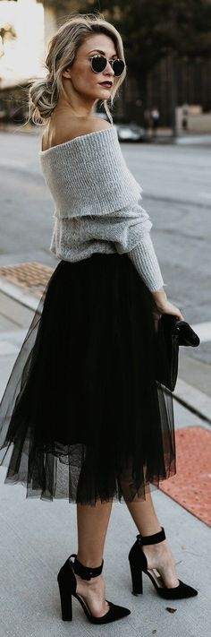 Tulle midi skirt with a gorgeous grey sweater and messy low-bun