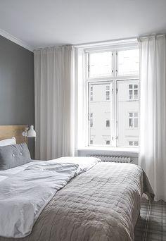 Home Decor Contemporary Grey Curtains Bedroom, Home Bedroom, Bedroom Decor, Bedrooms, Scandinavian Interior Bedroom, Inside A House, Cozy House, Cheap Home Decor, Apartment Living