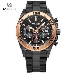 71.00$  Buy here - http://alirxq.worldwells.pw/go.php?t=32789744231 - MEGIR Official MEGIR 2017 Luxury Band Sports Watch Chronograph Multifunction Military Wristwatch 3D Dial Quartz Watch  Luminous 71.00$