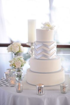 White silver chevron wedding cake