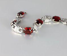Antique Art Deco Garnet Bracelet jewelry Open back by RMSjewels
