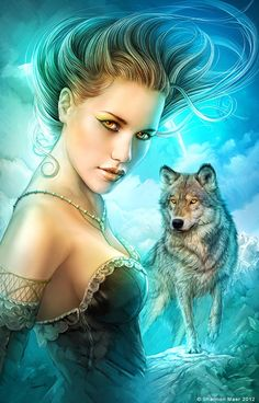 Fantasy Art Woman and Wolf.                      In my mind she is, The Woman Who Watches. If you get the reference you are awesome