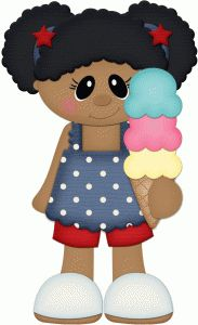 Silhouette Design Store - View Design #61909: 4th of july girl eating ice cream cone pnc