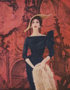 1950s Supermodel Dovima in a luxury clothing advert.