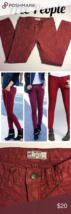 "FREE PEOPLE Jacquard Textured Skinny Jeans W 25 Stretchy low-slung snug skinny jeans in a jacquard textured fabric, 98 cotton, 2 spandex. Faded / muted cranberry / wine shade. Zipper is 2"". Inseam is 27"".  Size: Waist 25"".  Great find!  (#224) Free People Pants Skinny"