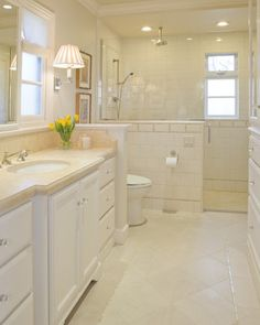 Traditional Bathroom Curbless Shower Design, Pictures, Remodel, Decor and Ideas . Like the curb less shower design. Bathroom Renos, Laundry In Bathroom, Bathroom Interior, Brass Bathroom, White Bathroom, Small Bathroom, Master Bathroom, Bathroom Lighting, New Bathroom Ideas