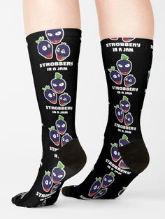 """""""Stroberry, In A Jam (White Text)"""" Socks by grumblebeeart   Redbubble Stealing strawberries in the middle of a robbery. Funny berry slogan gift. Outdoor Cushions, Duffel Bag, Crew Socks, Strawberries, Slogan, Chiffon Tops, Rubber Rain Boots, Picnic Blanket, Berry"""