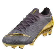 Nike Mercurial Vapor XII Elite FG Soccer Cleat Grey Black Dark Grey Yellow-4 57d554784a