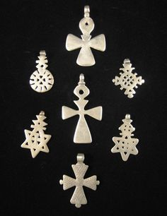 African Tribal Art - Silver Coptic cross pendants, Ethiopia